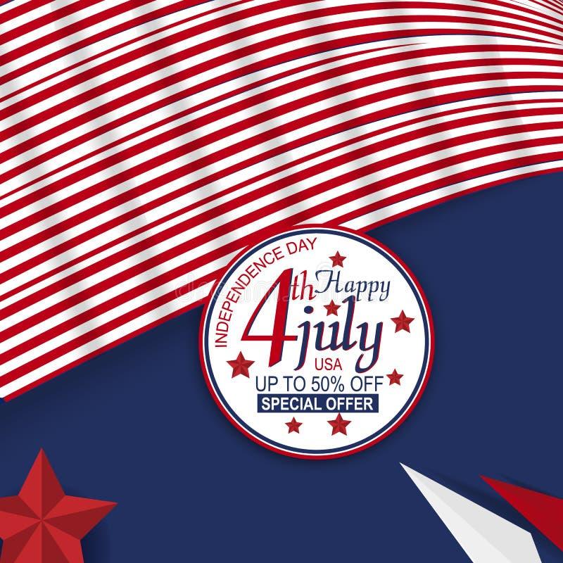 Material e elemento da venda para o quarto do Dia da Independência de julho de Estados Unidos Projeto para a bandeira, propaganda ilustração stock