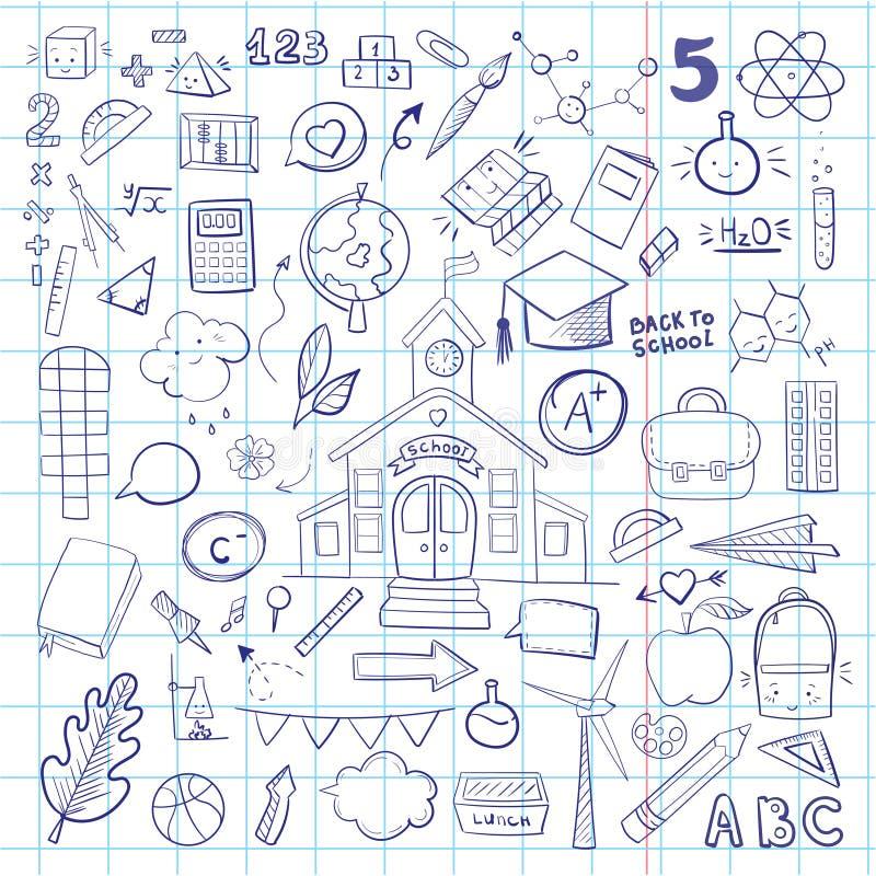 Material escolar vetorial, desenho de uma mão azul reproduzível e reproduzível fundo escolar fotografia de stock royalty free