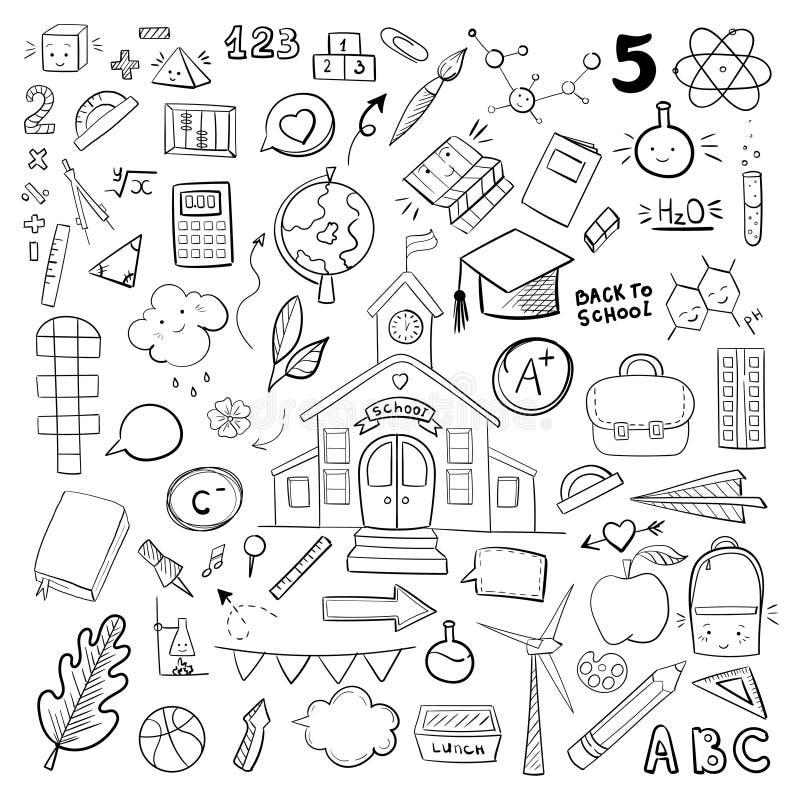 Material escolar vetorial, ilustrações gráficas desenhadas à mão fotografia de stock