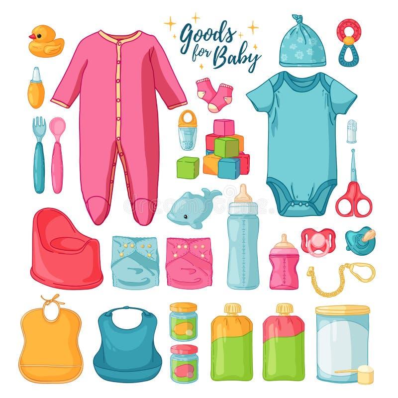 Material grande do bebê do grupo Grupo bonito de coisas para o childrenhood Ícones isolados de bens do bebê para neonatos Roupa,  ilustração do vetor