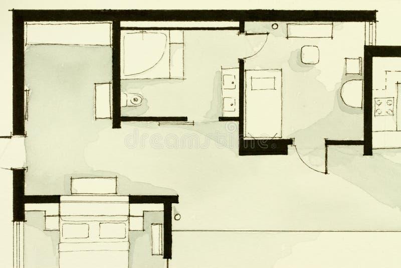 Material ilustrativo blanco y negro inspirador de la acuarela y de la tinta, mostrando a apartamento de la propiedad horizontal p libre illustration