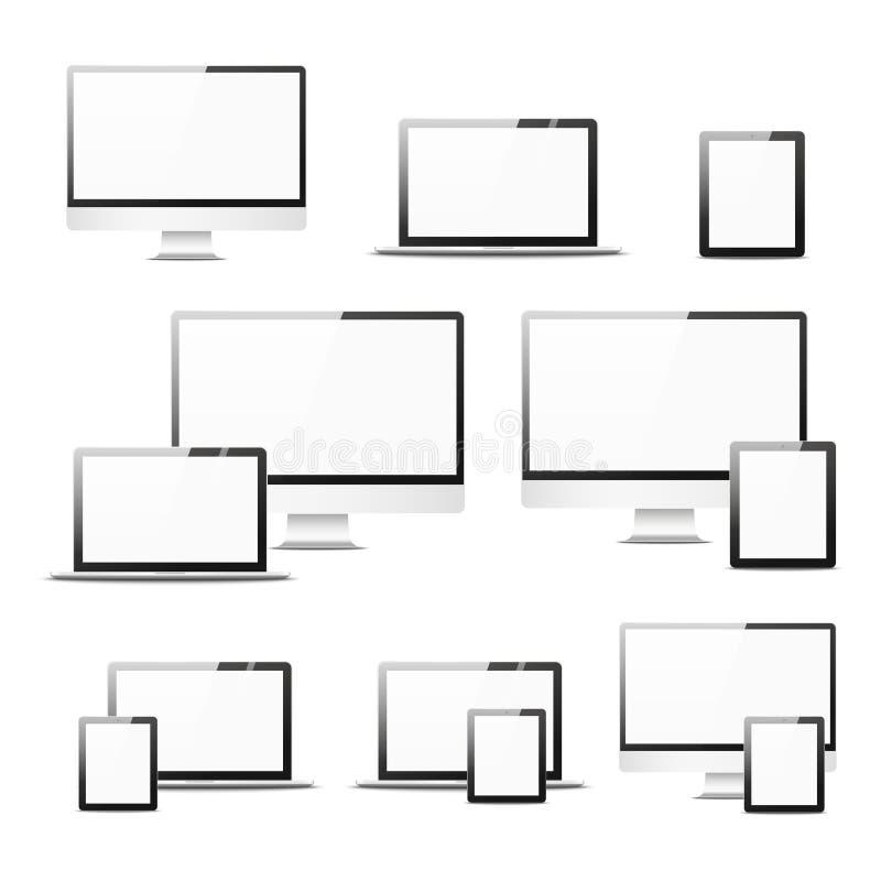 Material informático realista determinado Cuaderno y tableta aislados Diseño de la maqueta libre illustration
