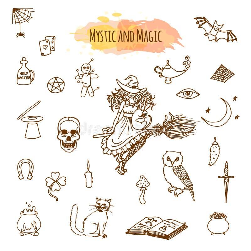 Material mágico no estilo da garatuja ilustração stock