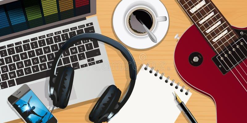Material, música, grabación, músico, compositor stock de ilustración