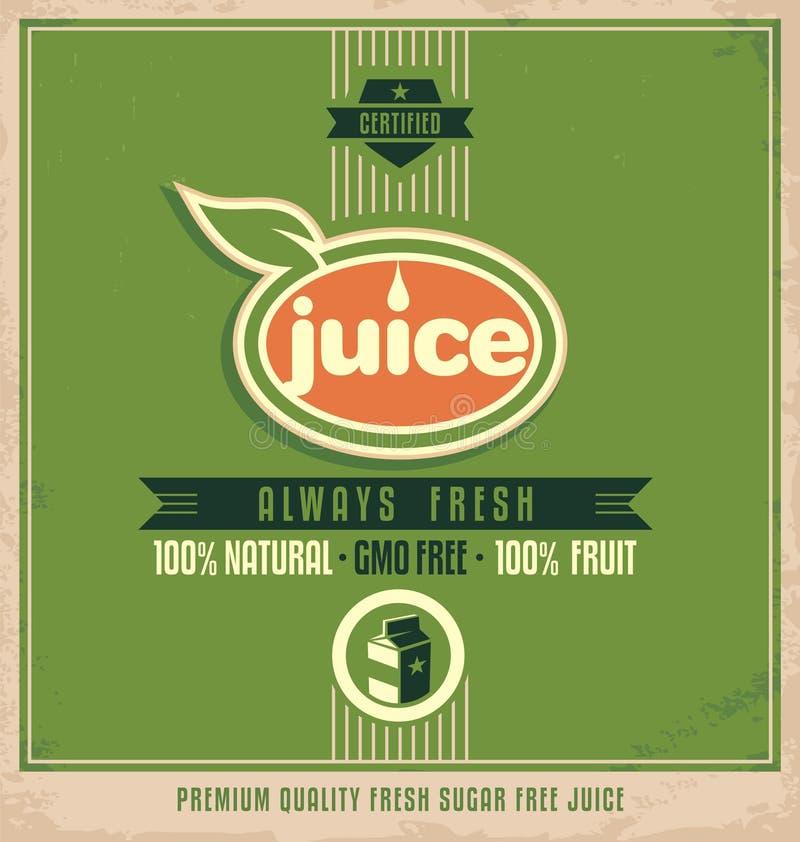 Material promocional de la impresión del vintage para el jugo orgánico stock de ilustración