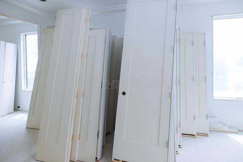 Material for repairs in an apartment is under construction, remodeling, rebuilding and renovation door for a new home before stock photos