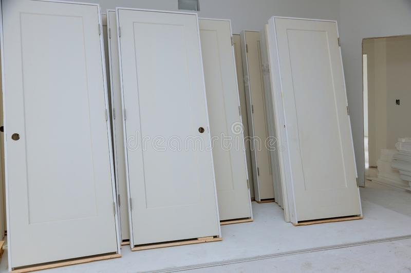 Material for repairs in an apartment is under construction, remodeling, rebuilding and renovation door for a new home before stock images