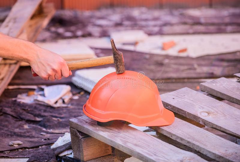 Material strength. Building construction. Professional hard hat. Engineer architect repairer safety accessory. Helmet or royalty free stock photography
