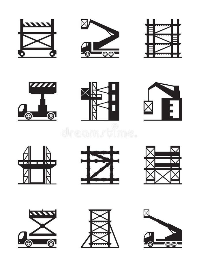 Material till byggnadsställning- och för konstruktionskranar symbolsuppsättning royaltyfri illustrationer