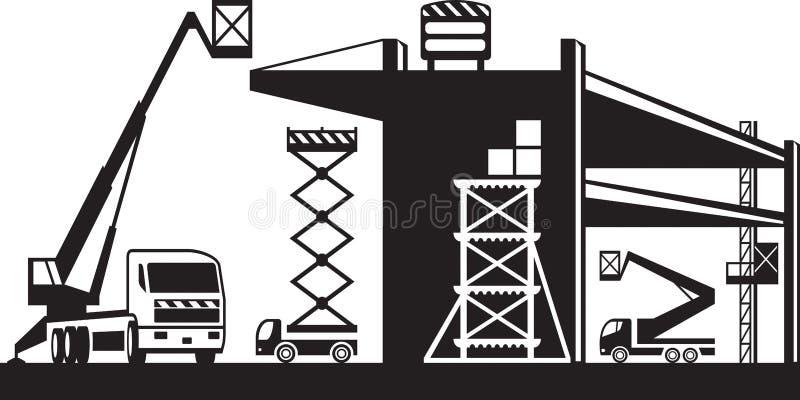 Material till byggnadsställning och lyftande maskineri stock illustrationer