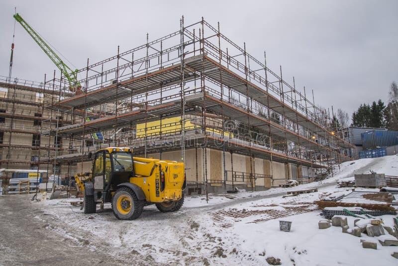 Material till byggnadsställning på en konstruktionsplats royaltyfria foton