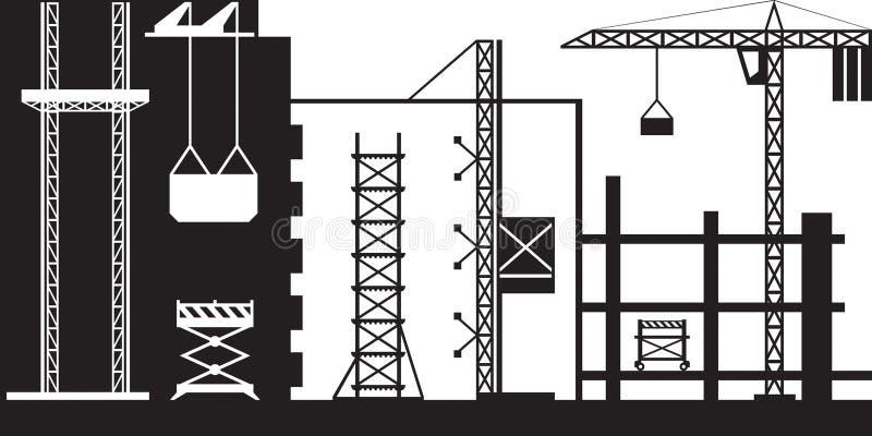 Material till byggnadsställningtillförsel för konstruktion vektor illustrationer