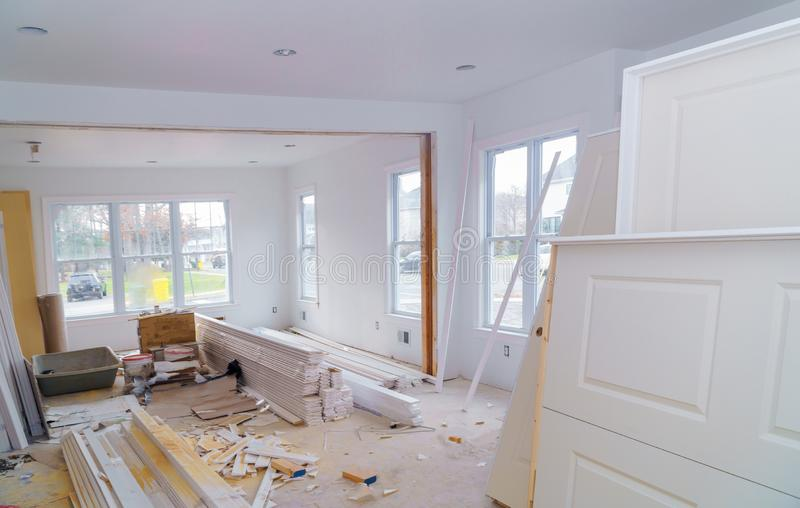 Material for under construction, remodeling and renovation from room white door and molding royalty free stock images