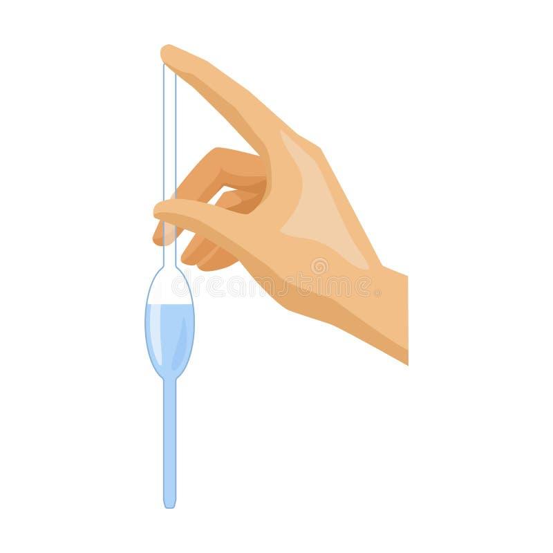 Materiale da otturazione di una pipetta a bulbo dall'icona dell'acqua nello stile del fumetto isolata su fondo bianco illustrazione vettoriale