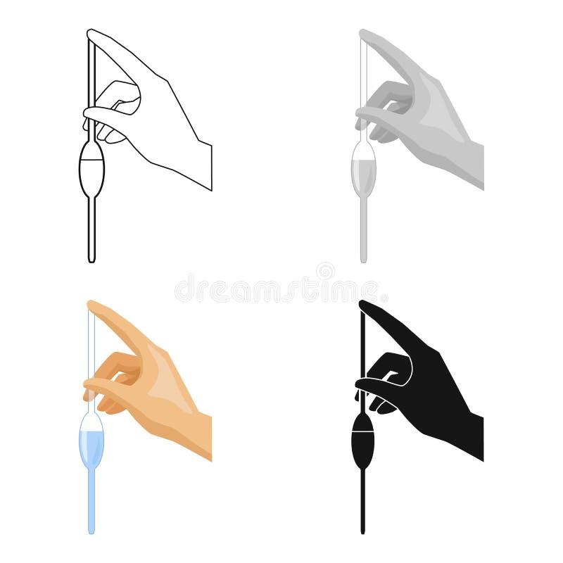 Materiale da otturazione di una pipetta a bulbo dall'icona dell'acqua nello stile del fumetto su fondo bianco Simbolo del sistema illustrazione di stock
