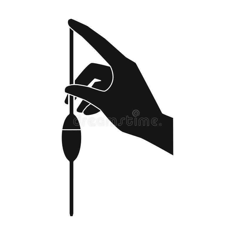 Materiale da otturazione di una pipetta a bulbo dall'icona dell'acqua nello stile nero isolata su fondo bianco Simbolo del sistem illustrazione di stock