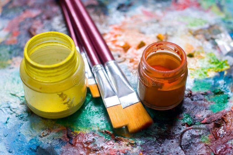 Materiale della pittura immagini stock