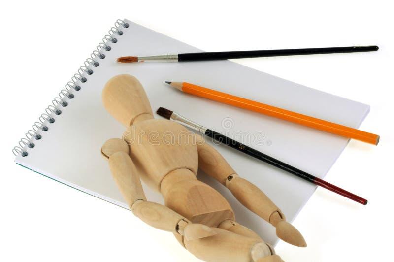 Materiale di disegno in primo piano su fondo bianco fotografie stock libere da diritti