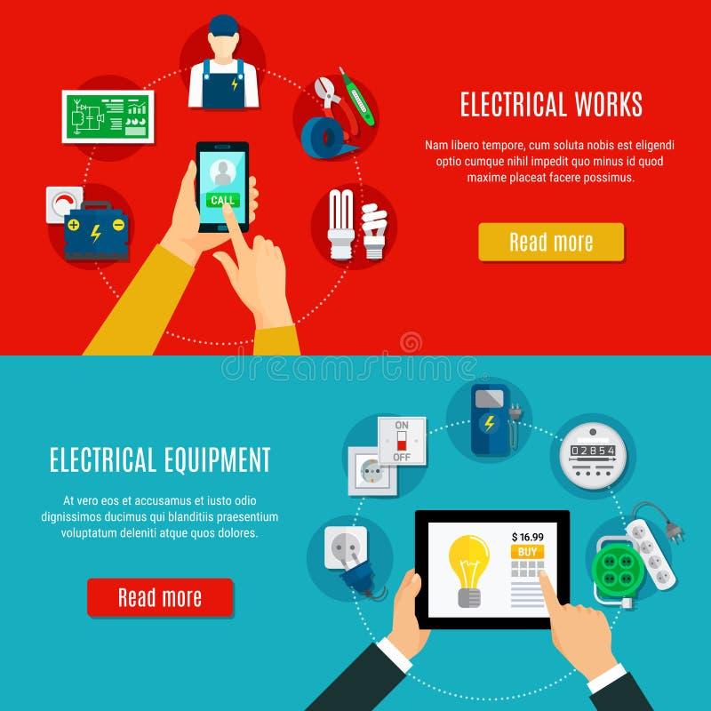 Materiale elettrico ed elettricista Horizontal Banners illustrazione di stock