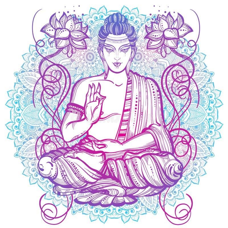 materiale illustrativo Alto-dettagliato di seduta del Buddha sopra il modello rotondo della mandala Bello materiale illustrativo  illustrazione di stock