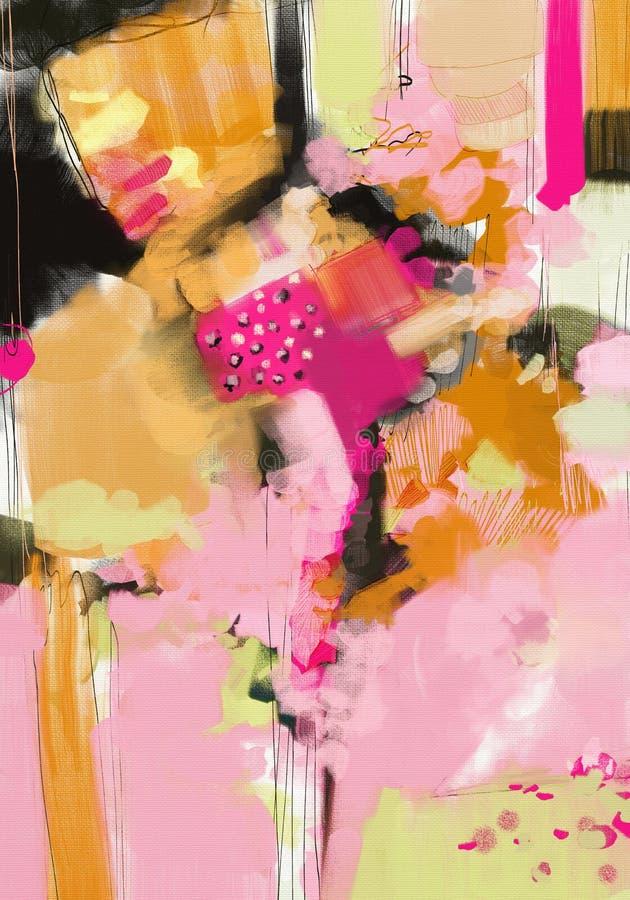 Materiale illustrativo astratto della pittura a olio di stile dell'espressionista su tela illustrazione di stock
