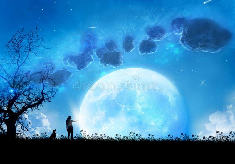 Materiale illustrativo astratto di una giovane donna con il suo cane che raggiunge per la luna illustrazione vettoriale