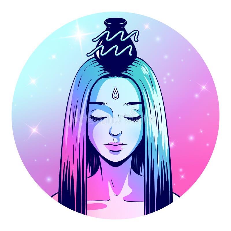 Materiale illustrativo del segno dello zodiaco di acquario, bello fronte della ragazza, simbolo dell'oroscopo, segno della stella illustrazione di stock