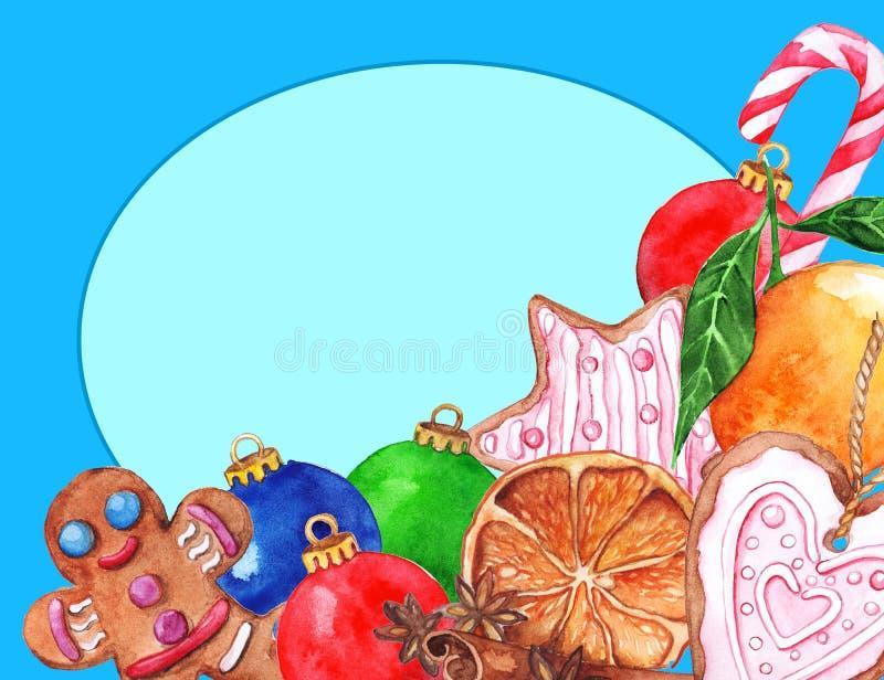Materiale illustrativo della struttura del nuovo anno di natale di Natale dell'acquerello royalty illustrazione gratis