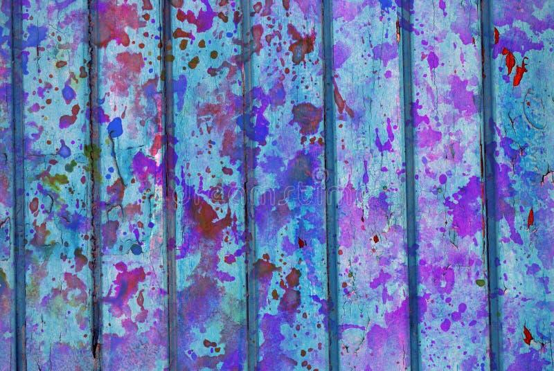 Materiale illustrativo di media misti, strato dipinto artistico variopinto dell'estratto in tavolozza di colore blu-chiaro e porp immagini stock