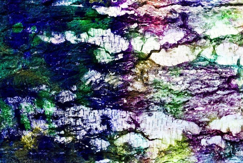 Materiale illustrativo di media misti, strato dipinto artistico variopinto dell'estratto in tavolozza variopinta su fotografia in illustrazione di stock