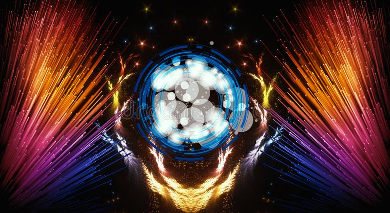 Materiale illustrativo moderno multicolore dell'estratto artistico con i fasci luminosi di un estratto variopinti dal lato illustrazione di stock