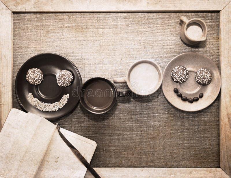 Materiale illustrativo nello stile di lerciume, prima colazione fotografia stock libera da diritti
