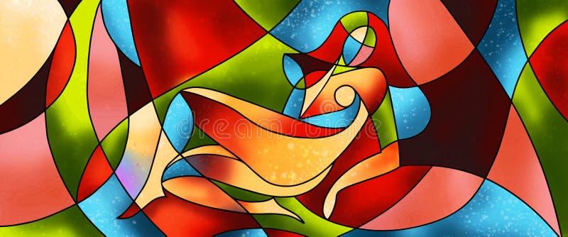 Materiale illustrativo sexy del vetro macchiato della donna illustrazione di stock