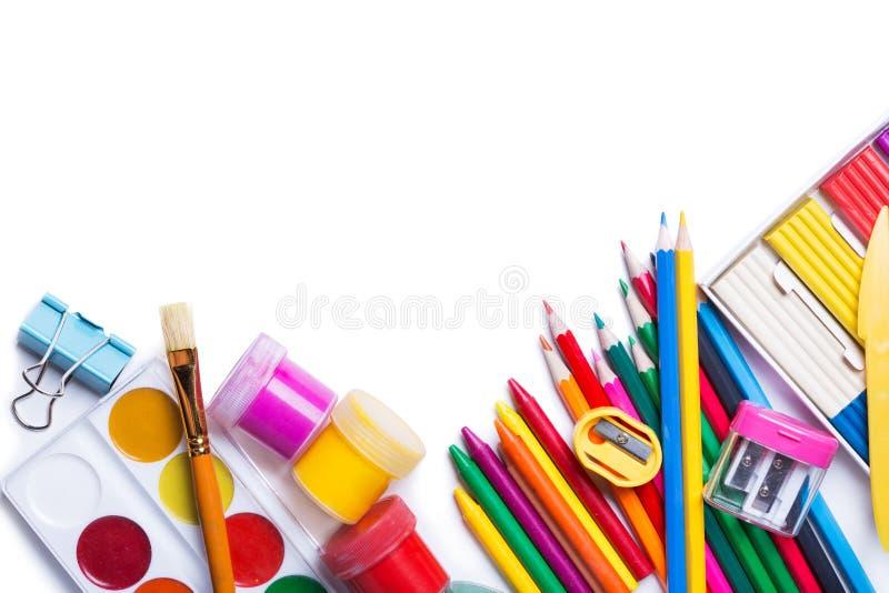 Materialen voor de creativiteit van kinderen stock afbeeldingen