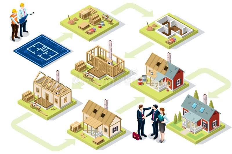 Materiales de construcción determinados de madera isométrica del edificio ilustración del vector