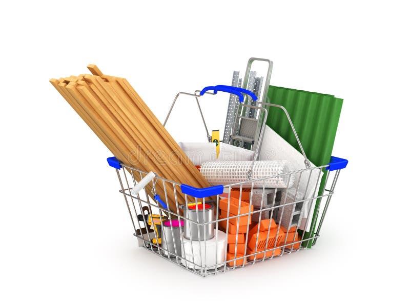 Materiales de construcción en la cesta de compras ilustración del vector