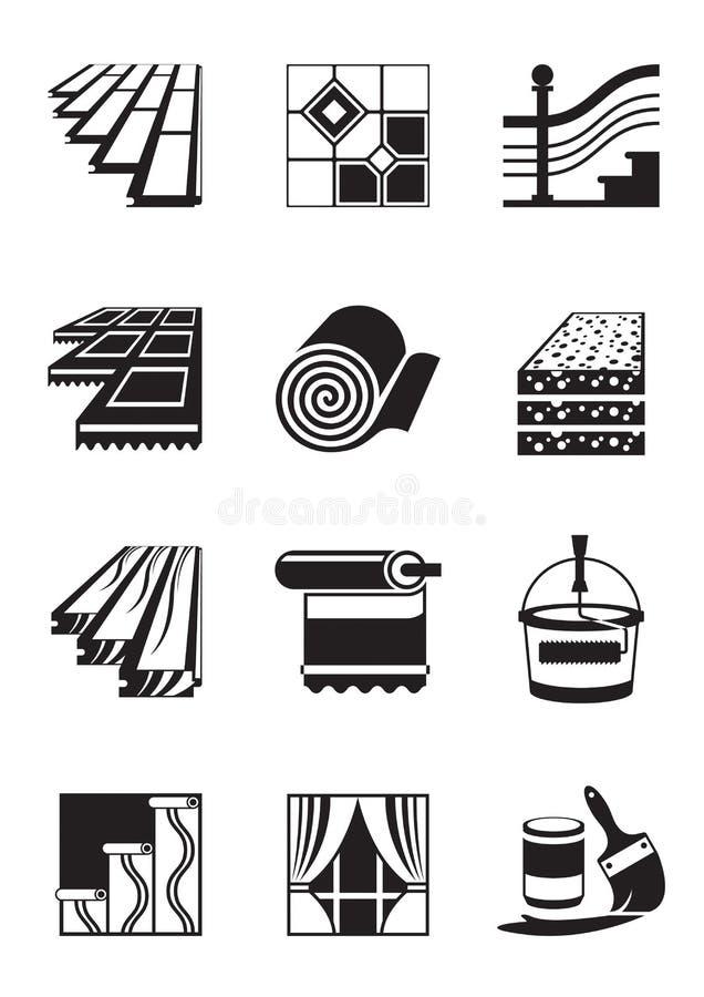 Materiales de la decoración para el interior stock de ilustración