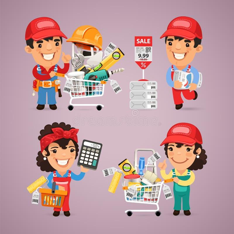Materiales de las compras de los trabajadores en DIY para la reparación de libre illustration