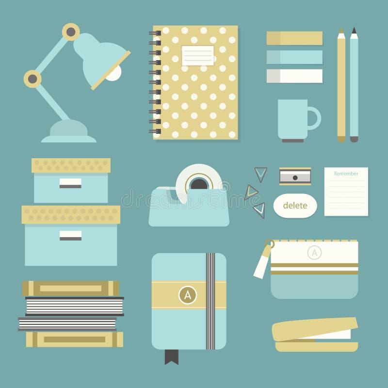 Materiales de oficina modernos e iconos azules y amarillos de los efectos de escritorio fijados ilustración del vector