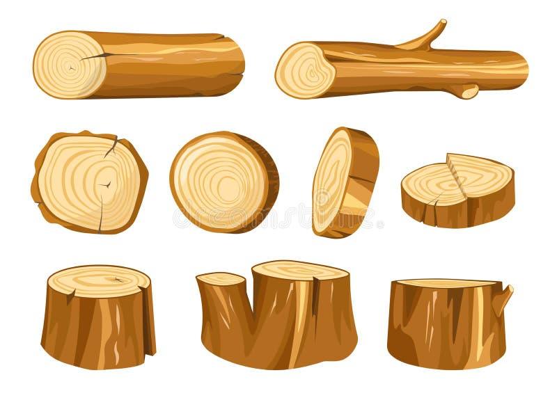 Materiales naturales de madera del bosque de madera del tocón y del registro stock de ilustración