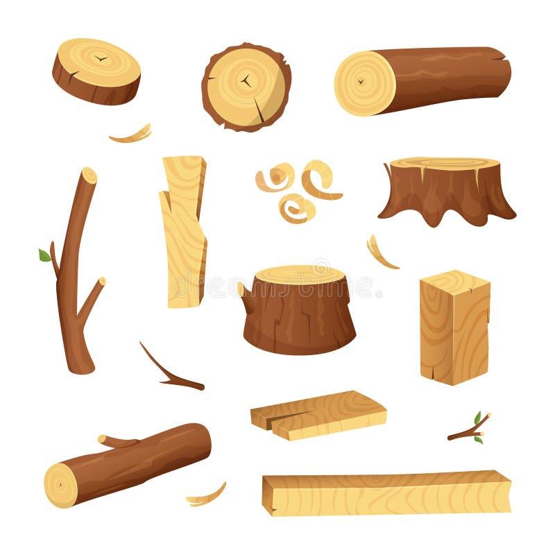 Materiales para la industria de madera Madera de construcción del árbol, tronco Vector stock de ilustración