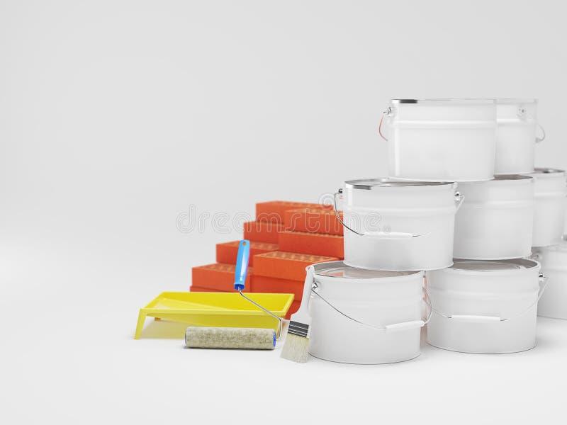 Materiali da costruzione isolati su bianco Dipinga il secchio, i mattoni, spazzola Copi lo spazio illustrazione 3D illustrazione vettoriale