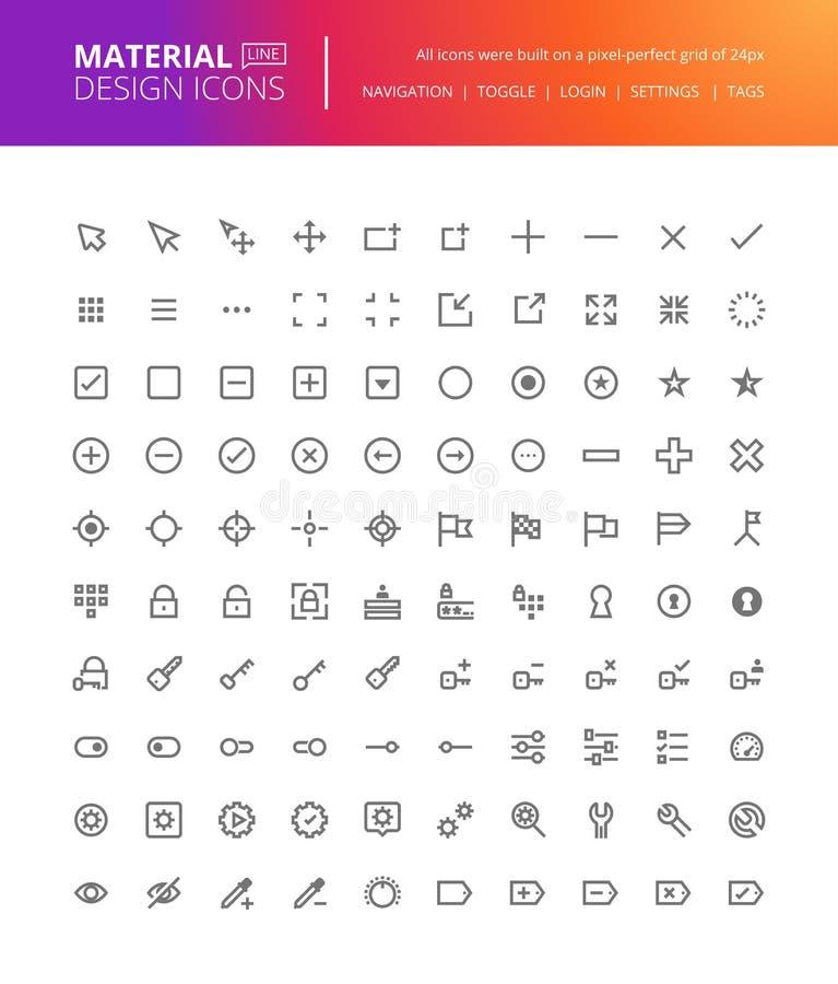 Materialne projekt ikony ustawiać ilustracji