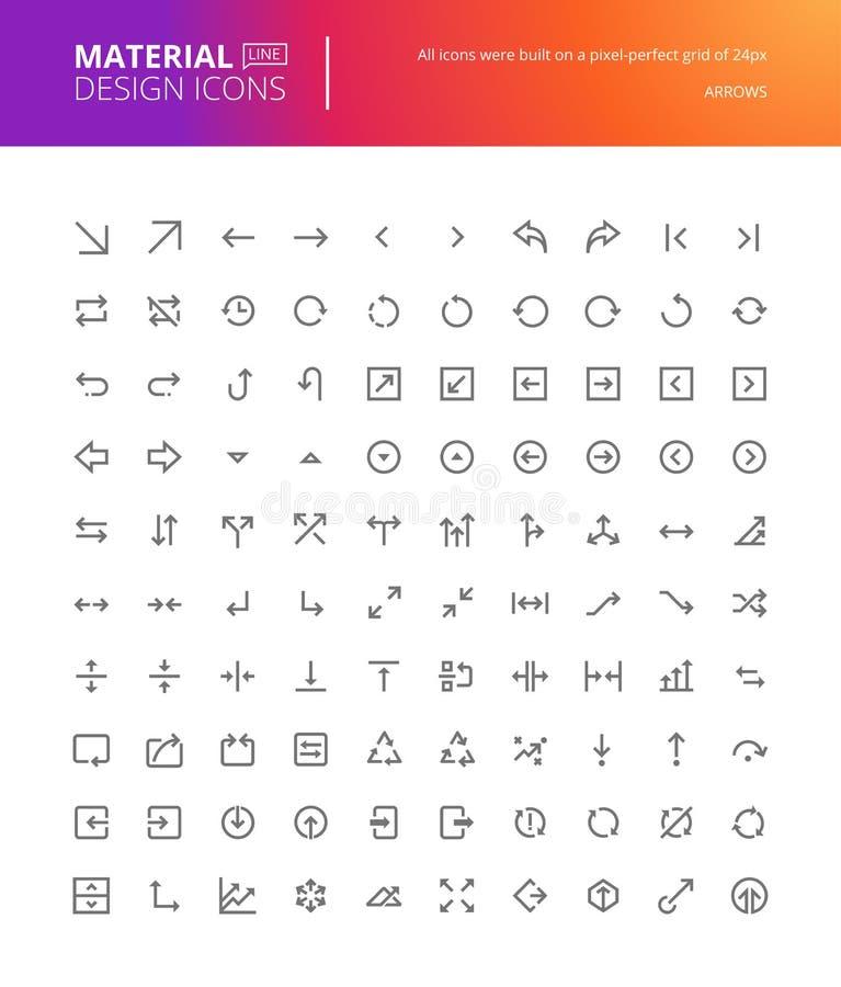 Materialnego projekta strzałkowate ikony ustawiać ilustracja wektor
