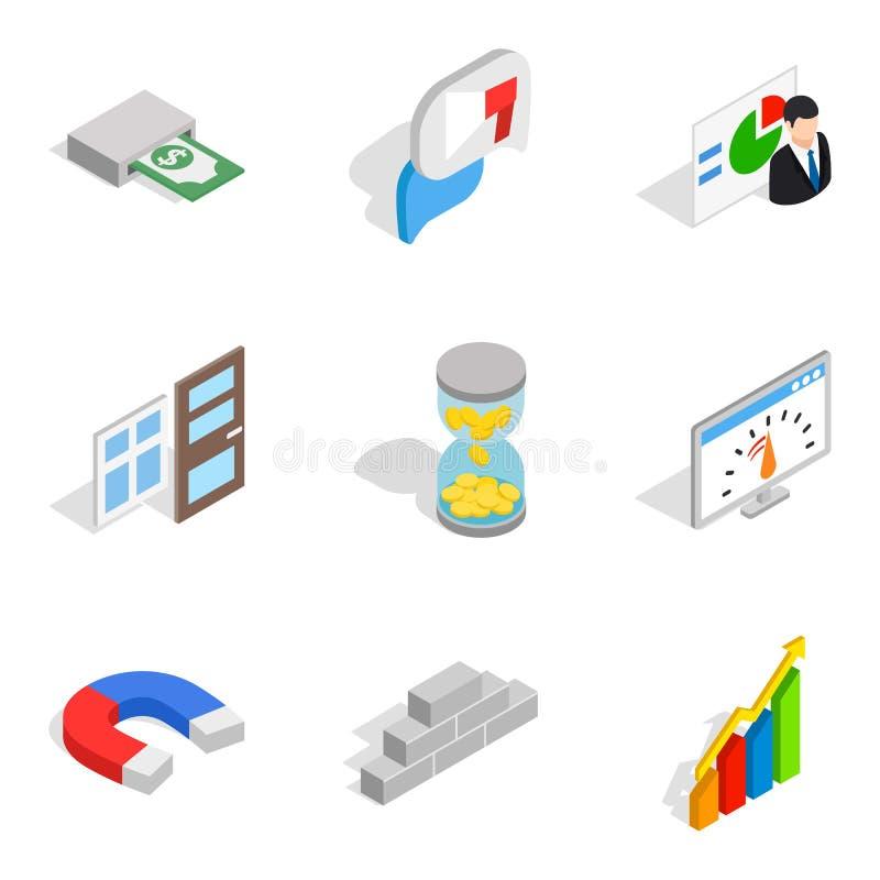 Materialnej pomocy ikony ustawiać, isometric styl ilustracji