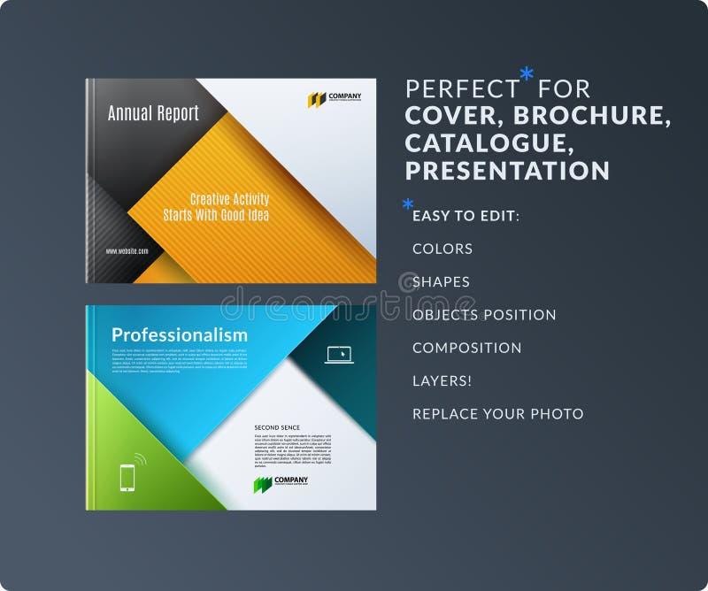 Materialny projekt broszurka set, abstrakcjonistyczny sprawozdanie roczne, horyzontalny okładkowy układ, ulotka w A4 z wektorowy  ilustracji