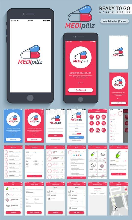 Materialny projekt UI, ekrany dla zdrowie & Medyczny, UX, GUI, ilustracja wektor