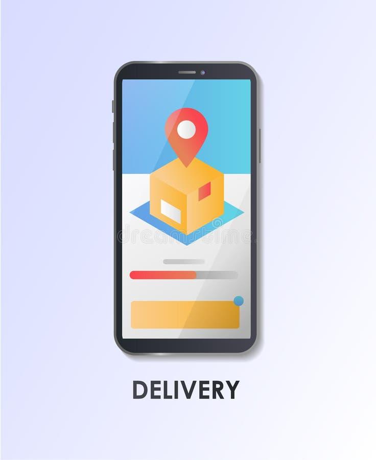 Materialny projekt UI/UX, GUI parawanowa dostawa, pakunek, GPS tropić Płaska wektorowa ilustracja royalty ilustracja