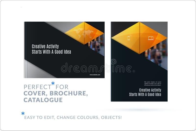 Materialny projekta szablon Kreatywnie żółty colourful abstrakcjonistyczny broszurka set, sprawozdanie roczne na czarnym tle royalty ilustracja