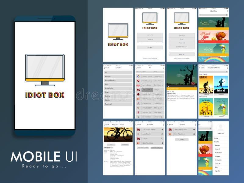 Materialny projekta, UI, UX i GUI układ dla Mobilnego Apps, royalty ilustracja